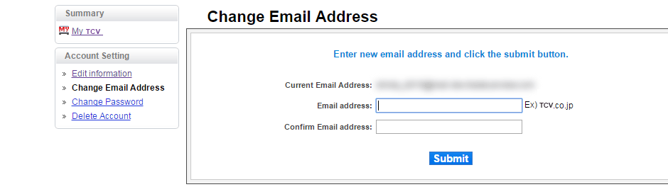 Email address change screen capture