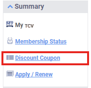 my TCV Discount Coupon menu in the left column