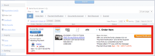 Open the Message Details page from Order List on My tradecarview.