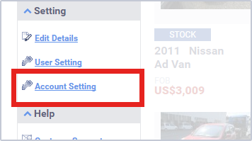 Account Setting menu