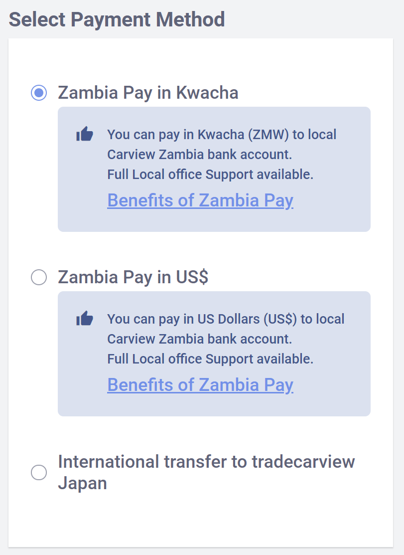 "Zambia Pay ""BEST OPTION!"" and Zambia Pay ""Recommended""."